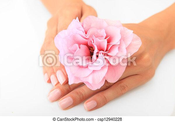 spijker, salon, vrouw, krijgen, manicure - csp12940228
