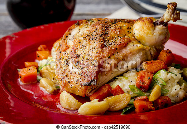 Spinach Stuffed Chicken with Butternut Squash - csp42519690