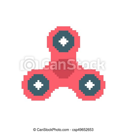 Spinner pixel art. Fidget finger toy pixelated. Anti stress hand toy on white background - csp49652653