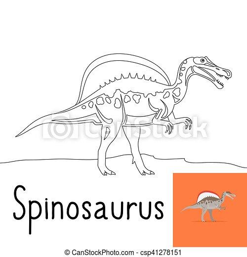 Spinosaurus, färbung, seite, kinder. Färbung, gefärbt,... Clipart ...