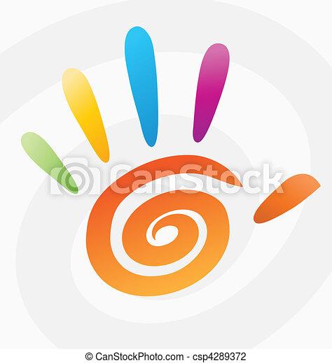 spiral, abstrakt, vektor, farvet, hånd - csp4289372