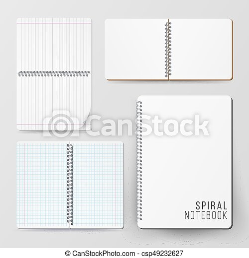 Spiral empty notepad blank mockup set. template for... vector ...