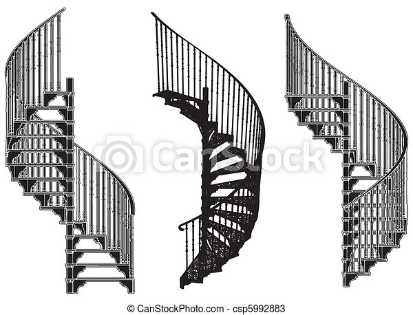 Spiral Staircase Vector Canstock