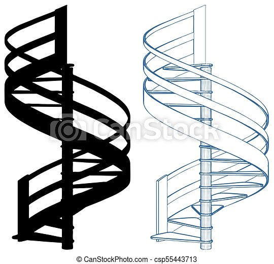 spiral staircase vector 20 eps spiral staircase vector isolated on rh canstockphoto com stairs clipart cartoon staircase clipart
