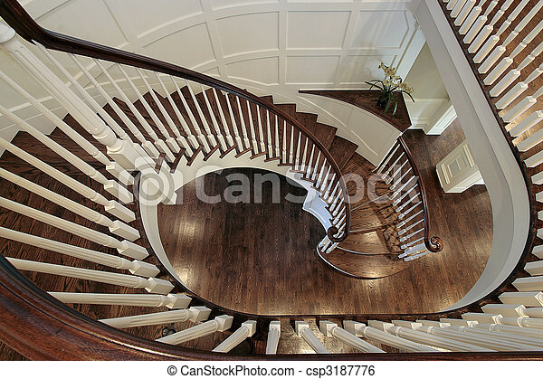 Spiral Staircase With Wood Railing   Csp3187776