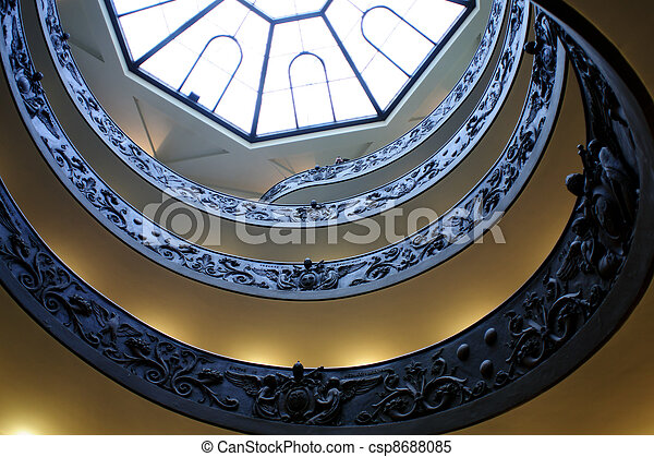 Spiral stairs of the Vatican, Rome. - csp8688085
