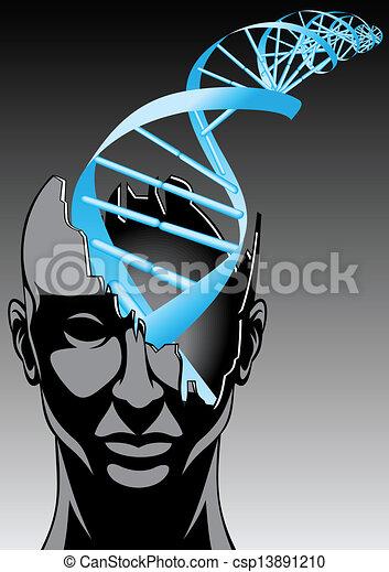 spirale, -, mann, zukunft, biologie, technologien, dns - csp13891210