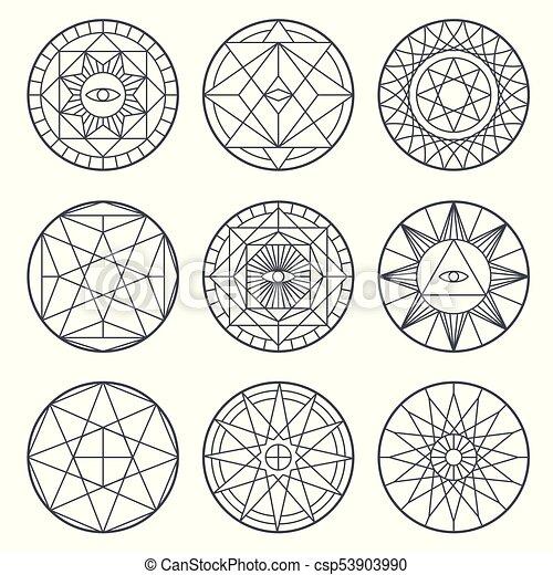 Spiritual Alchemy Vector Symbols Medieval Geometry Sacred Vector
