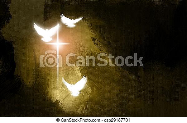 Spiritual Doves and Salvation Cross - csp29187701