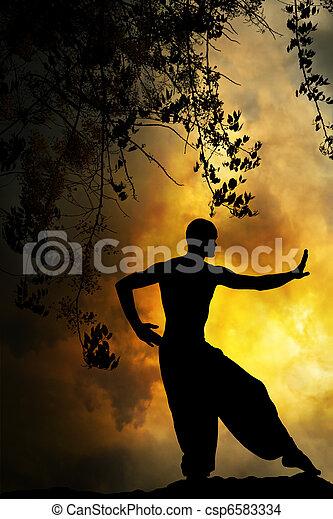 Spiritual Martial Arts Sunset - csp6583334