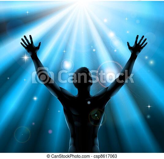 spirituale, concetto, elevato, su, braccia, uomo - csp8617063