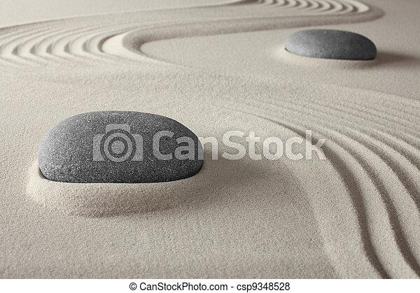 spirituale, giardino, zen, sabbia, roccia, terme - csp9348528