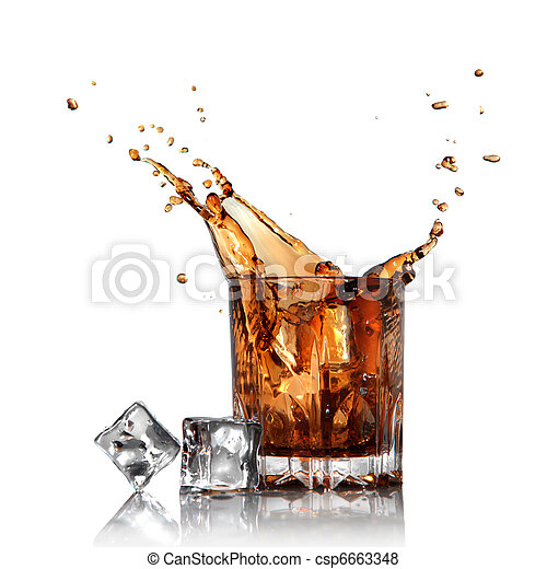 splash of cola in glass with ice cubes isolated on white - csp6663348