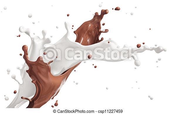 splash of milk and chocolate - csp11227459