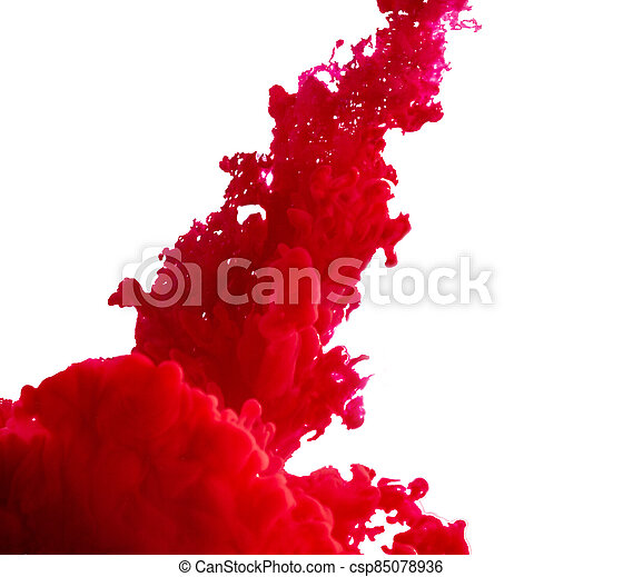 splash of red paint on a white background - csp85078936