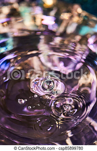 Splash of water from falling Kali, circles on the water, abstract pattern, frozen water splashes. - csp85899780