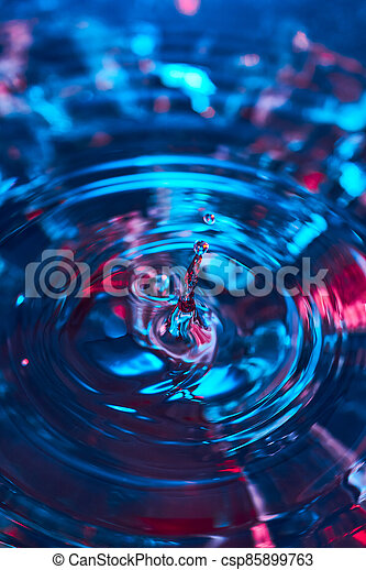 Splash of water from falling Kali, circles on the water, abstract pattern, frozen water splashes. - csp85899763
