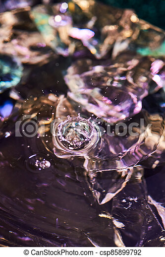Splash of water from falling Kali, circles on the water, abstract pattern, frozen water splashes. - csp85899792