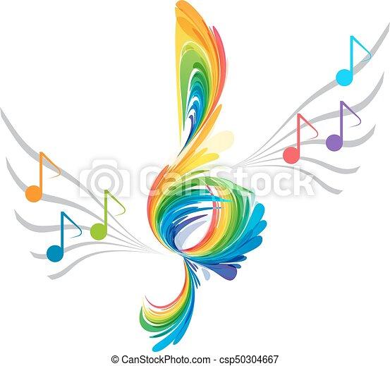 Splash treble clef and musical note rainbow splash treble for Note musicali dwg