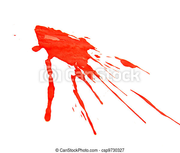Splashes of red paint. On a white background. - csp9730327