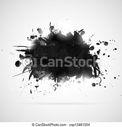 splashes., pintura, abstratos, experiência preta - csp13461504
