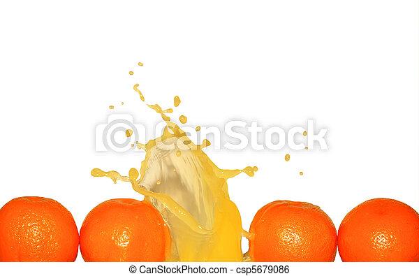 Splashing Orange Juice On White - csp5679086