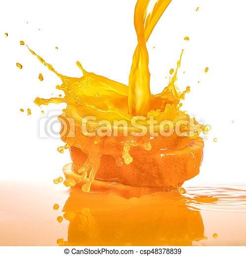splashing orange juice - csp48378839