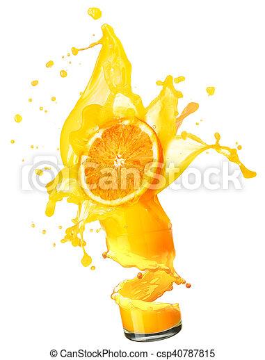 splashing orange juice with oranges - csp40787815