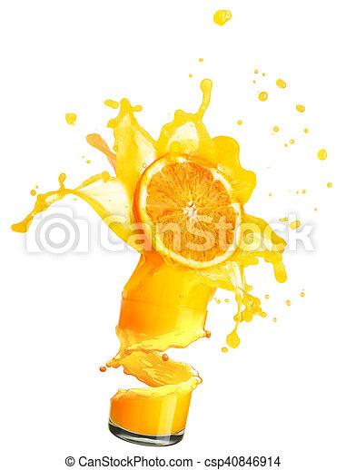 splashing orange juice with oranges - csp40846914