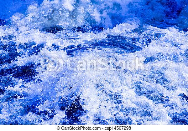 Splashing water in rapid river - csp14507298