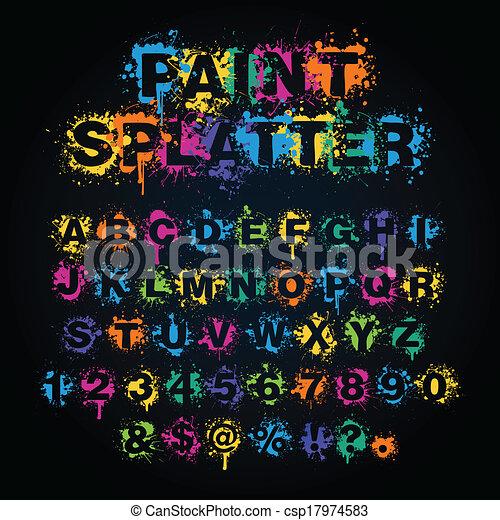 splatter, pintura, coloridos, alfabeto - csp17974583