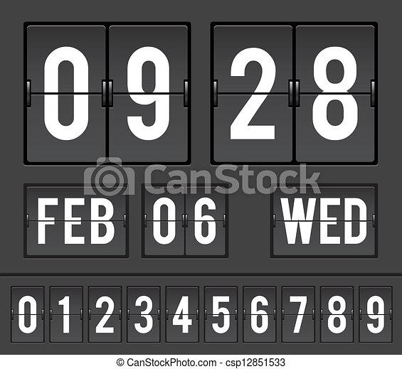 Split Flap Clock Illustration Mechanical Scoreboard With