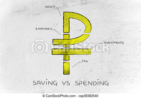 Split Ruble Currency Symbol With Budgeting Captions Saving Vs