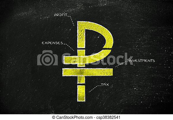 Split Ruble Currency Symbol With Budgeting Captions Russian