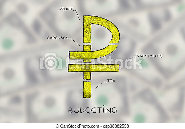 Split Ruble Currency Symbol With Budgeting Captions Russian Ruble
