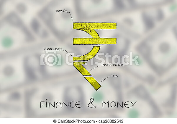 Split Rupee Currency Symbol With Budgeting Captions Finance Money