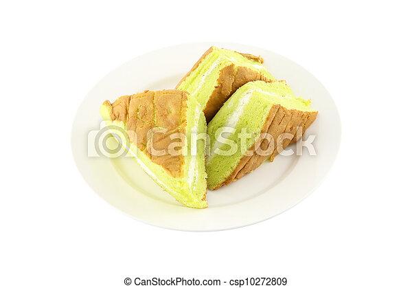 Sponge cream cake dish on white background. - csp10272809