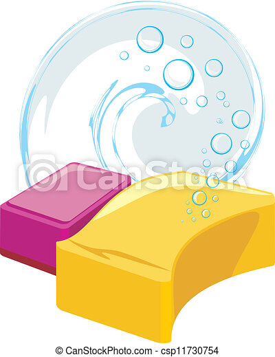 Sponges with soapy bubbles - csp11730754