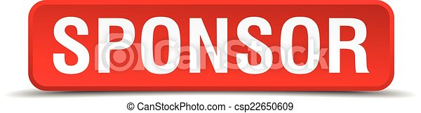 Sponsor red 3d square button isolated on white - csp22650609