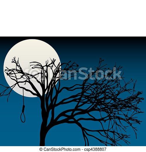 Spooky Full Moon Highlight Bare Tre Creepy Silhouettee Of