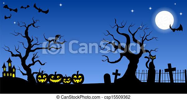 spooky halloween background - csp15509362