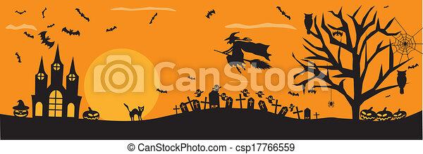 Spooky Halloween background - csp17766559
