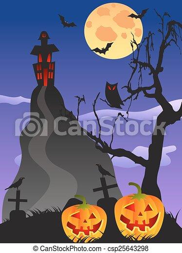 spooky Halloween background - csp25643298