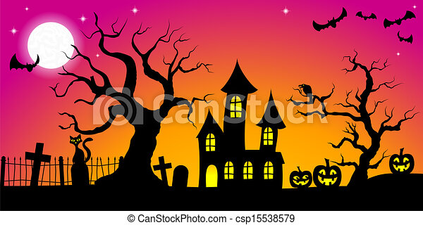 spooky halloween background - csp15538579