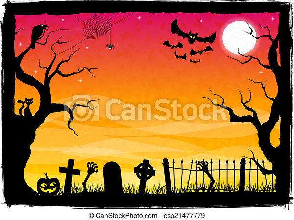spooky halloween background - csp21477779