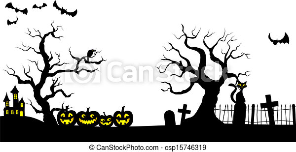 vector illustration of a spooky halloween background rh canstockphoto com Funny Halloween Clip Art Funny Halloween Clip Art