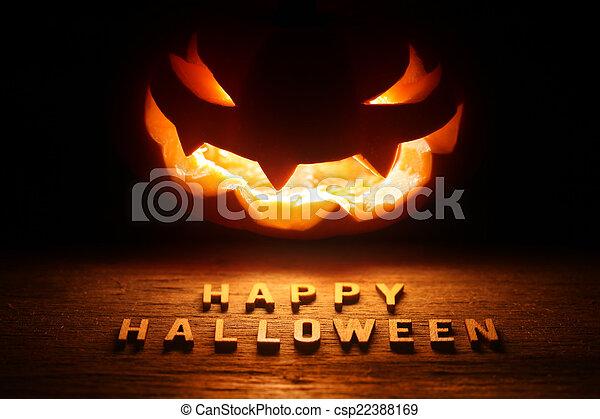 Spooky Halloween background with jack o lantern - Happy Hallowee - csp22388169