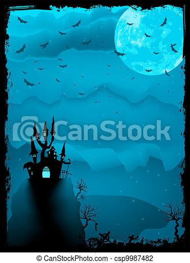 Spooky Halloween composition horror. EPS 8 - csp9987482