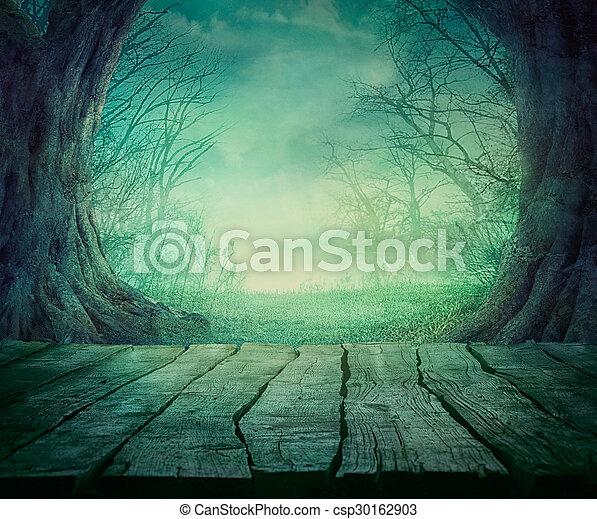 spooky, halloween, forêt - csp30162903