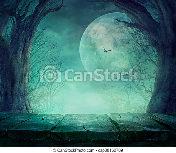 spooky, halloween, forêt - csp30162789